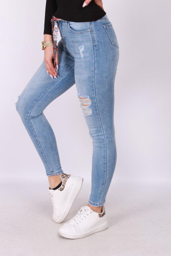 Przecierane spodnie z ozdobnym paskiem 1