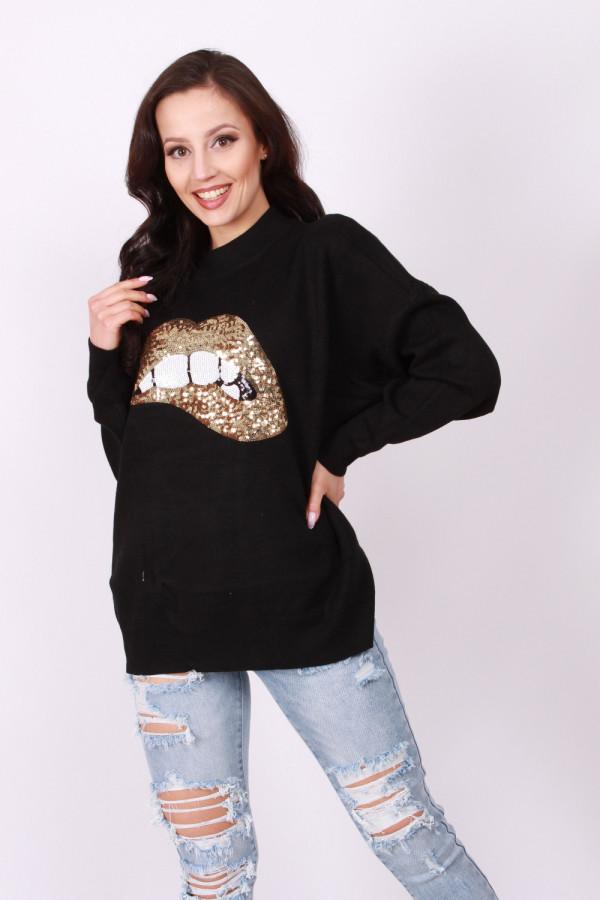 Sweter cekinowe usta