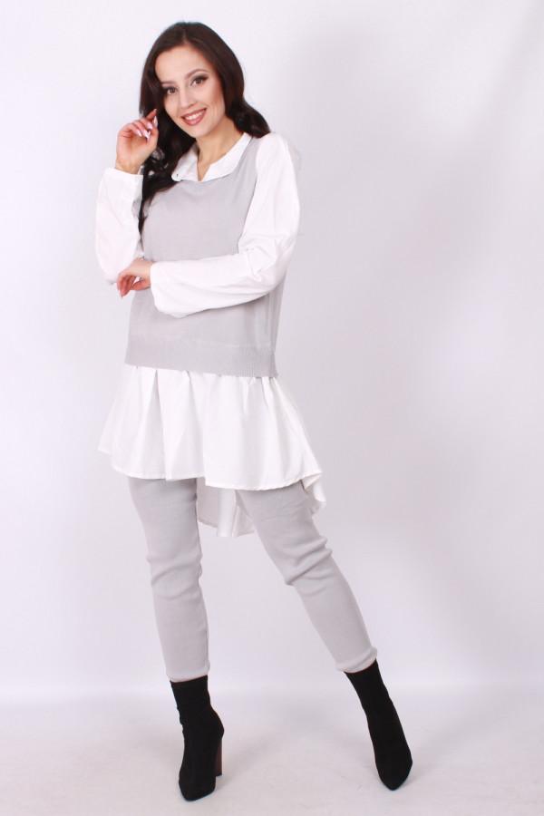 Komplet sweterkowy połączony z koszulą