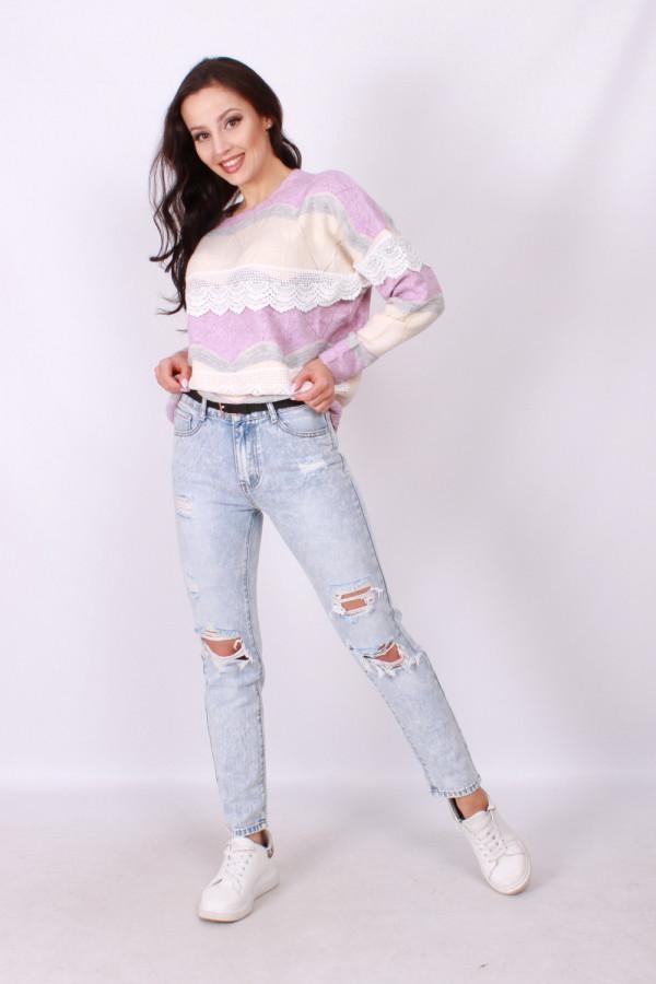 Spodnie z przetarciami jasny jeans