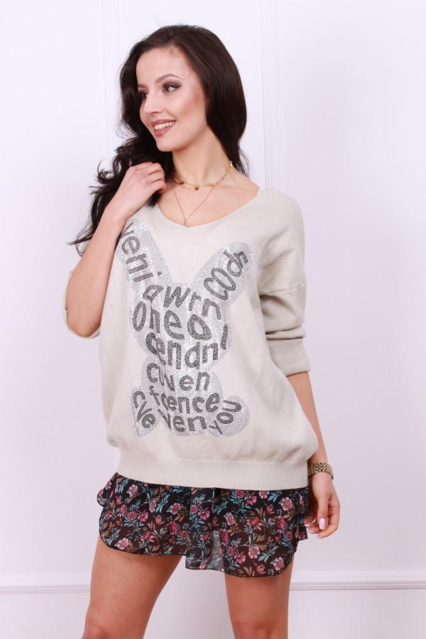 Sweter z błyszczącym królikiem