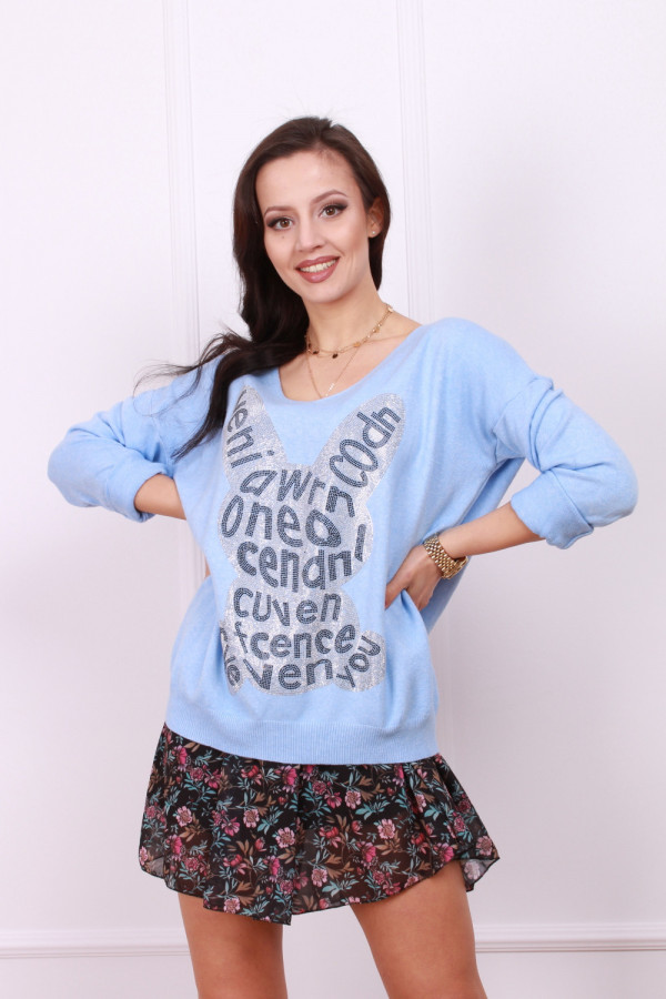 Sweter z błyszczącym królikiem 2