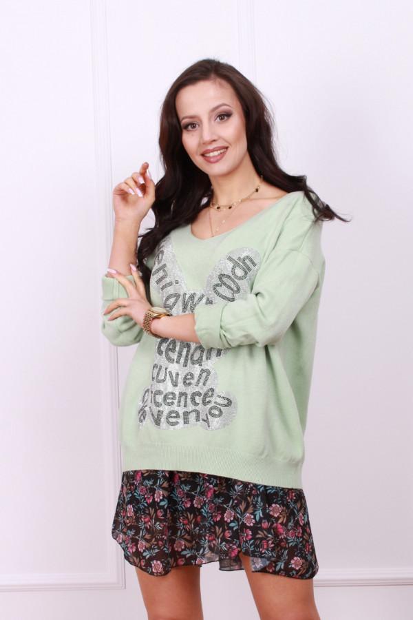 Sweter z błyszczącym królikiem 5