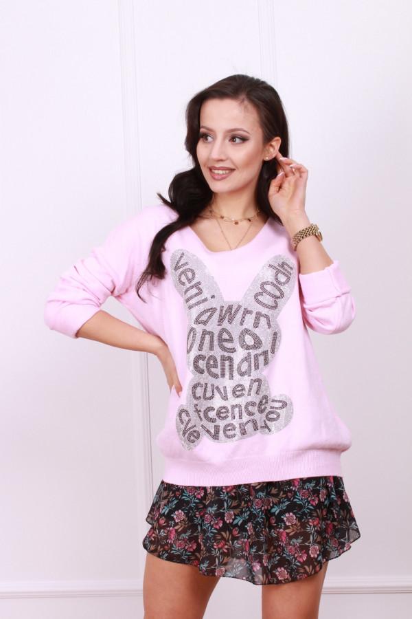 Sweter z błyszczącym królikiem 7