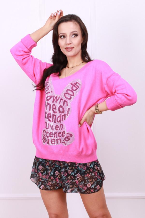 Sweter z błyszczącym królikiem 8