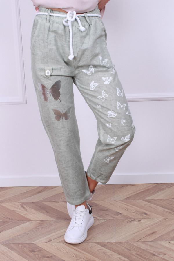 Spodnie lniane motyl 2