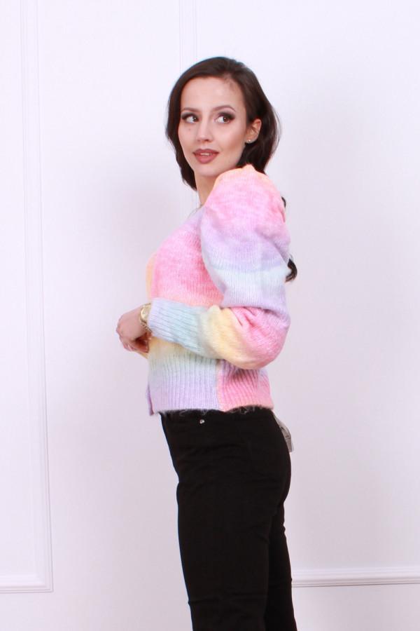 Sweter multikolor z bufkami 2