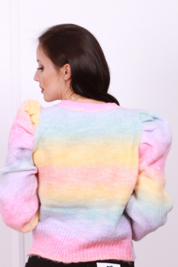 Sweter multikolor z bufkami 3