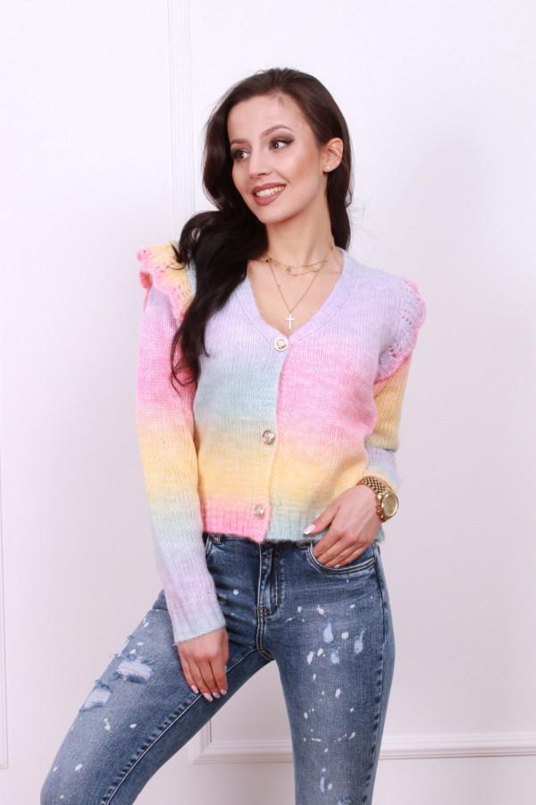 Sweter multikolor z falbanką