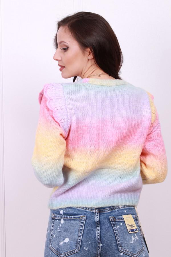 Sweter multikolor z falbanką 2