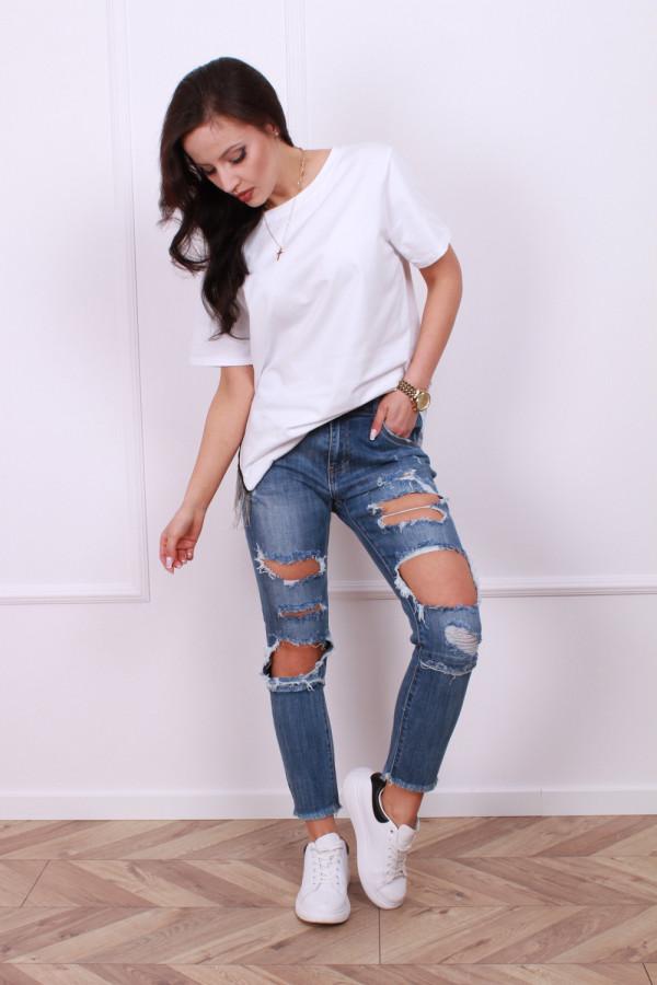 Spodnie ciemny jeans z przetarciami