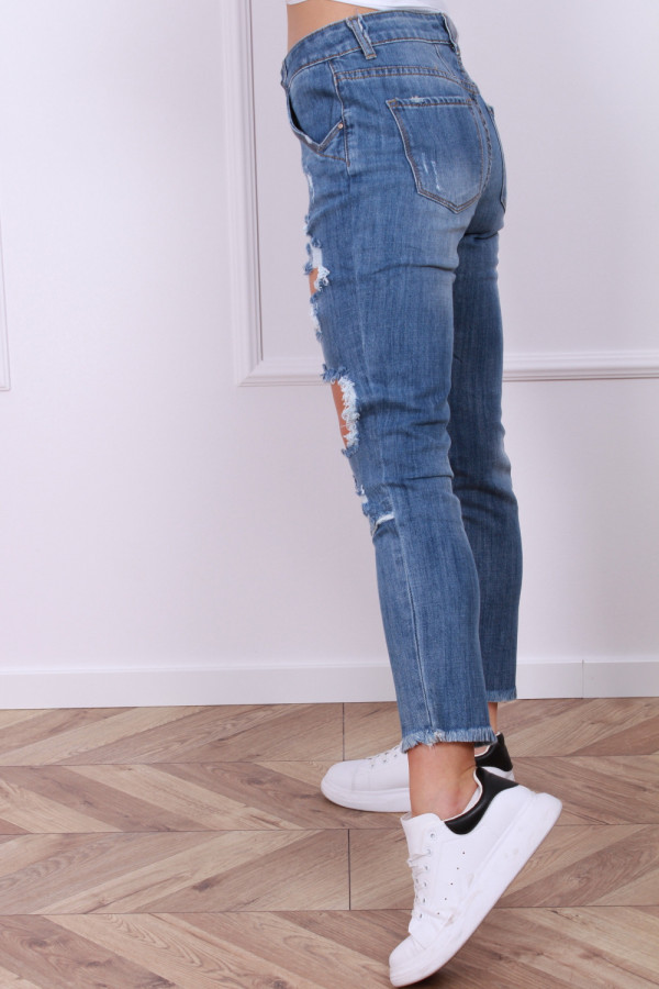 Spodnie ciemny jeans z przetarciami 1