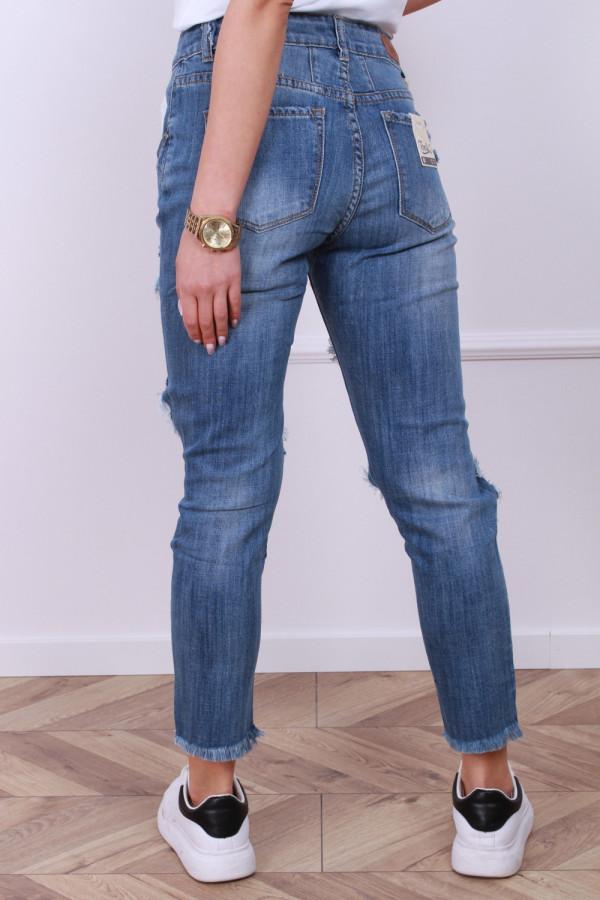 Spodnie ciemny jeans z przetarciami 2