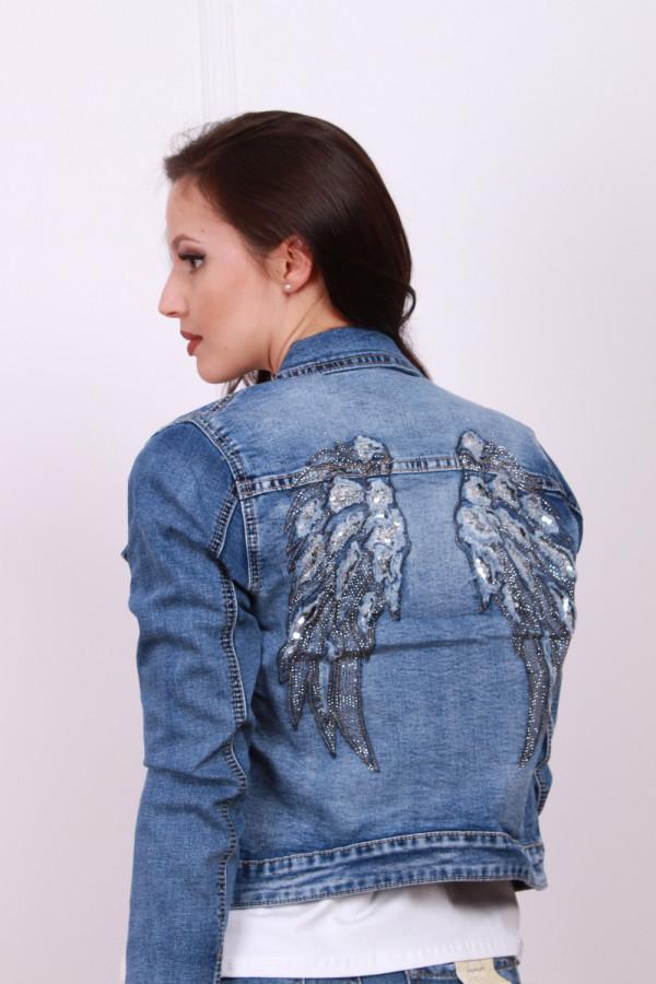 Kurtka jeansowa z aplikacją