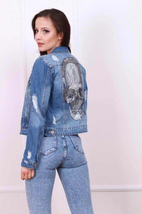 Kurtka jeans wzór czaszka