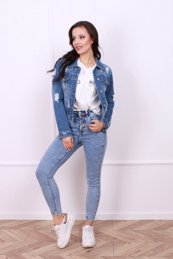 Kurtka jeans wzór czaszka 2
