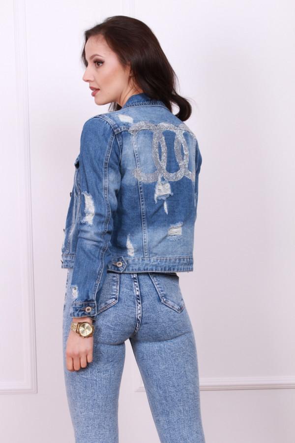 Kurtka jeans wzór cc
