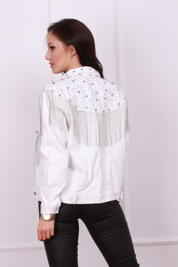 Kurtka jeansowa biała 2