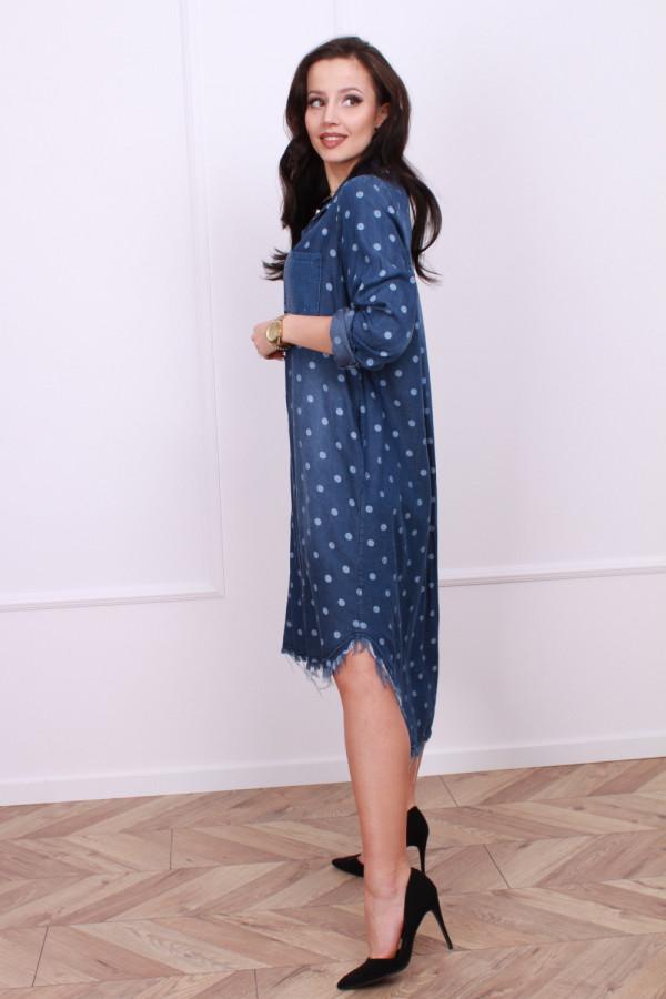 Sukienka jeansowa w grochy 2
