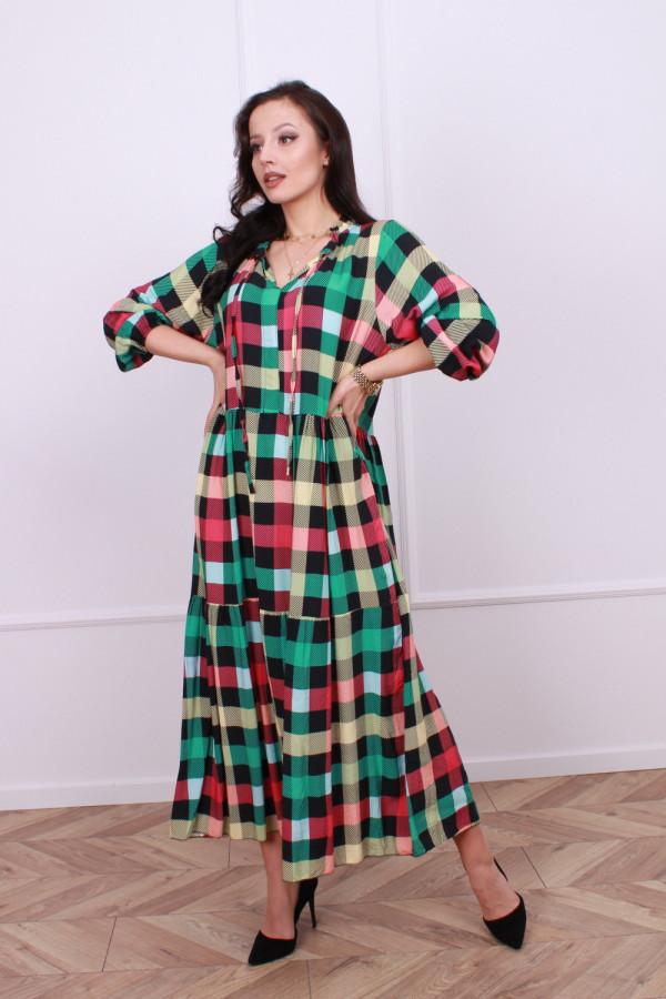 Sukienka maxi krata