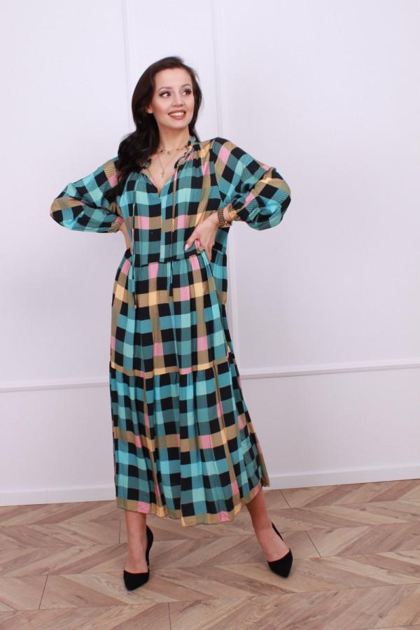 Sukienka maxi krata 1