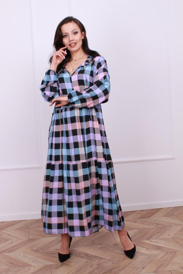 Sukienka maxi krata 2