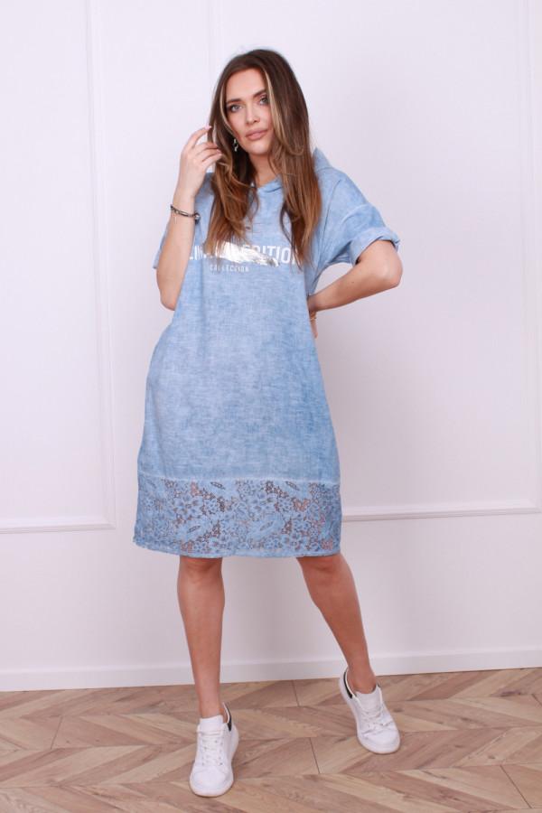Sukienka lniana z koronką 3