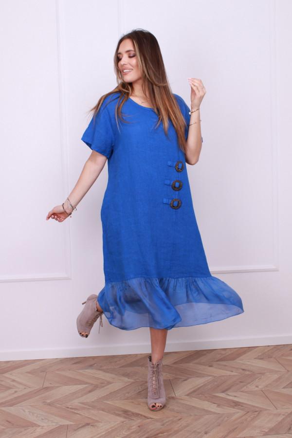 Sukienka lniana z jedwabiem