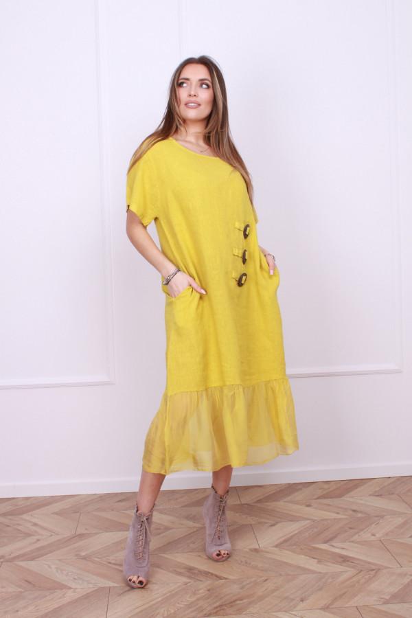 Sukienka lniana z jedwabiem 9