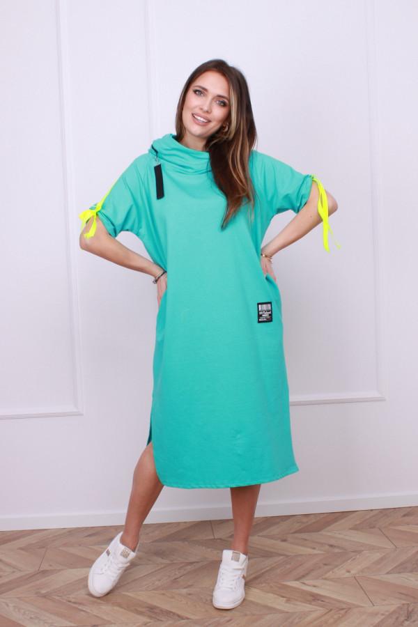 Sukienka z neonowym lampasem 6