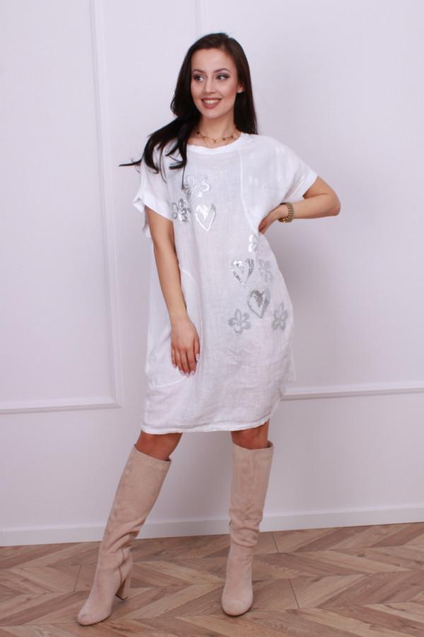 Sukienka lniana w serca 3