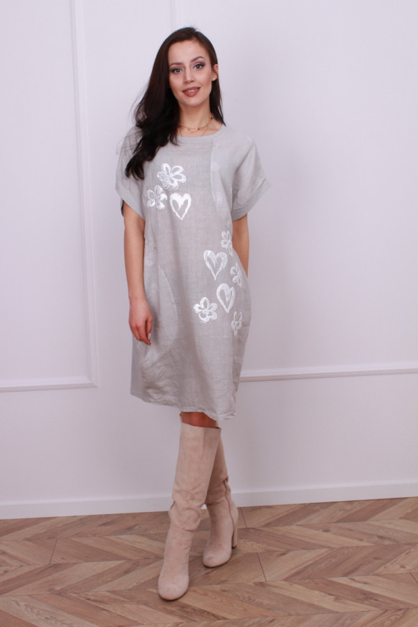 Sukienka lniana w serca 5