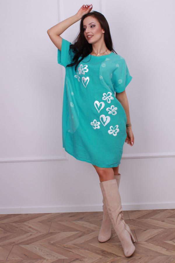 Sukienka lniana w serca 6