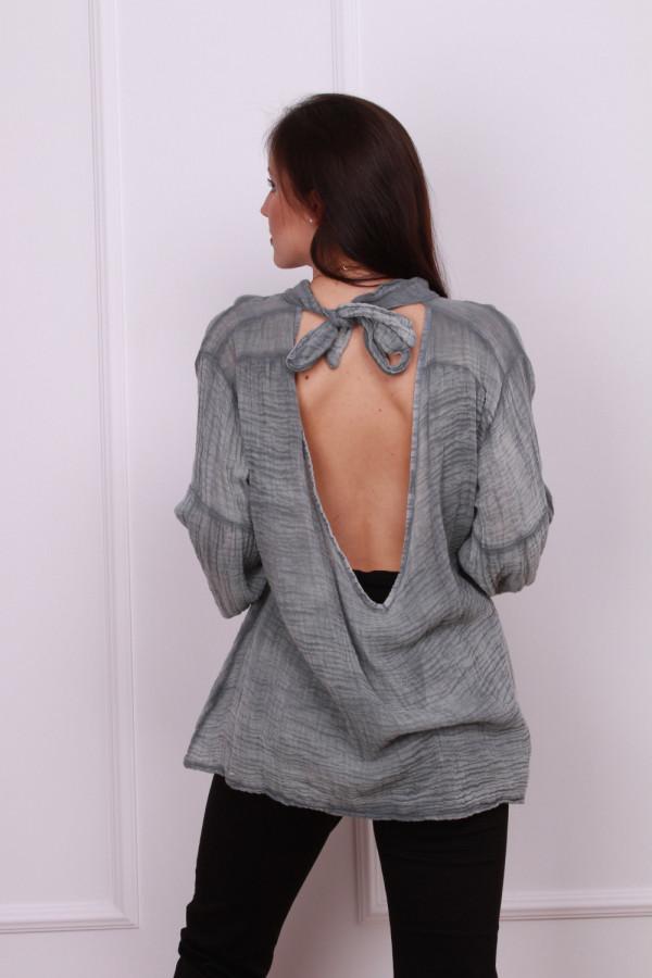 Bluzka muślinowa z odkrytymi plecami 4