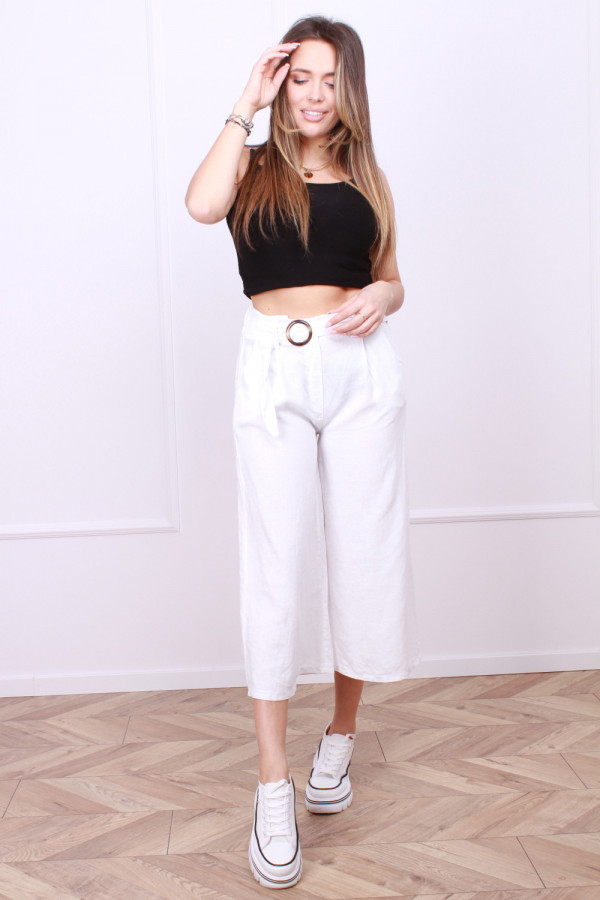 Spodnie lniane z paskiem