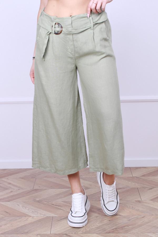 Spodnie lniane z paskiem 5