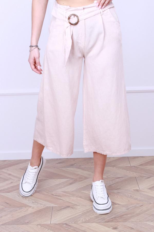 Spodnie lniane z paskiem 6