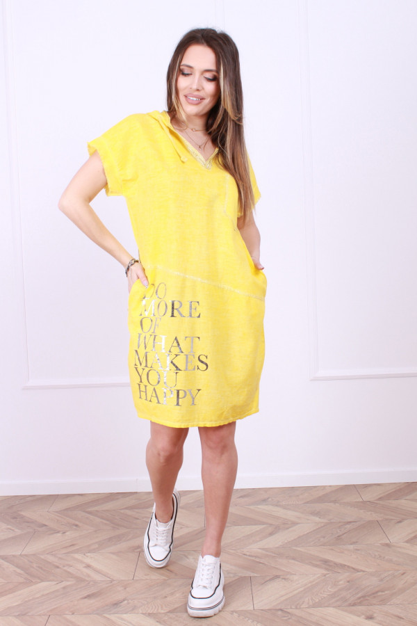 Sukienka lniana z kapturem