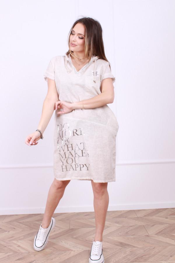 Sukienka lniana z kapturem 3