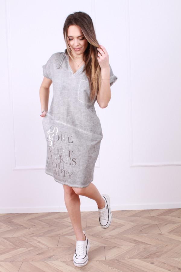 Sukienka lniana z kapturem 4