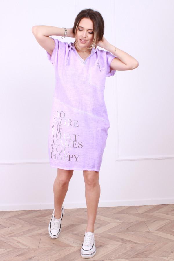 Sukienka lniana z kapturem 5