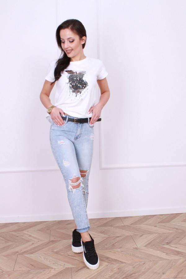 Spodnie z przetarciami jeansowe