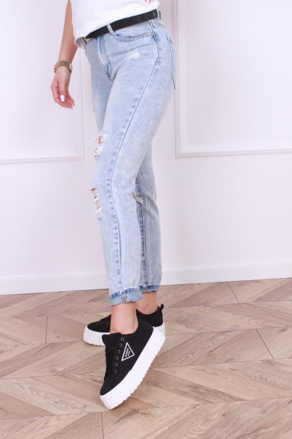 Spodnie z przetarciami jeansowe 1
