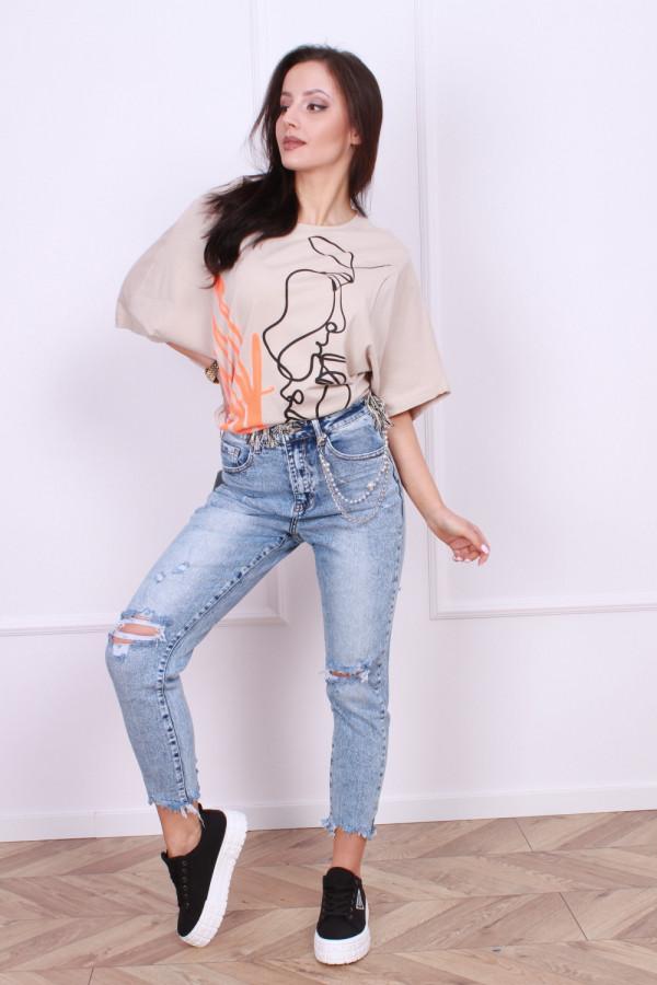 Spodnie jeansowe z łańcuszkiem