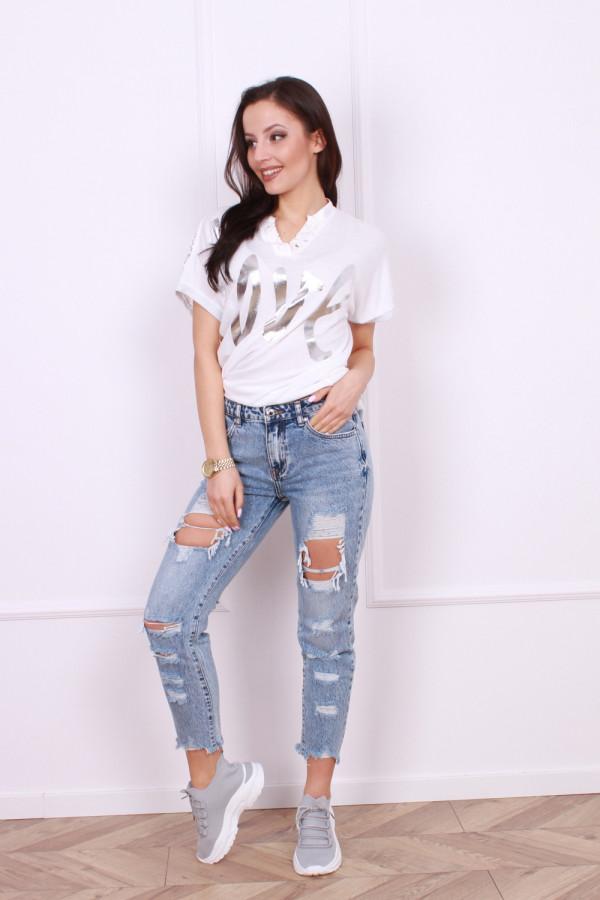 Spodnie jeansowe z przetarciami Emi