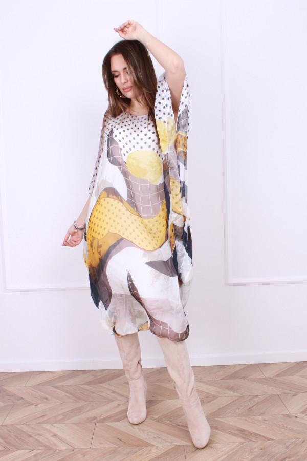 Sukienka jedwabna grochy