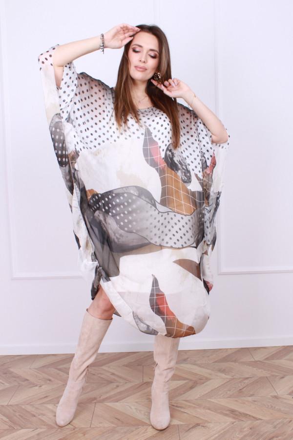 Sukienka jedwabna grochy 4
