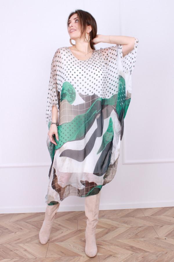 Sukienka jedwabna grochy 8