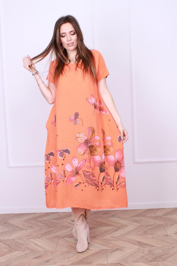 Sukienka lniana kwiaty