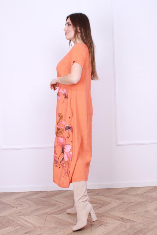 Sukienka lniana kwiaty 1